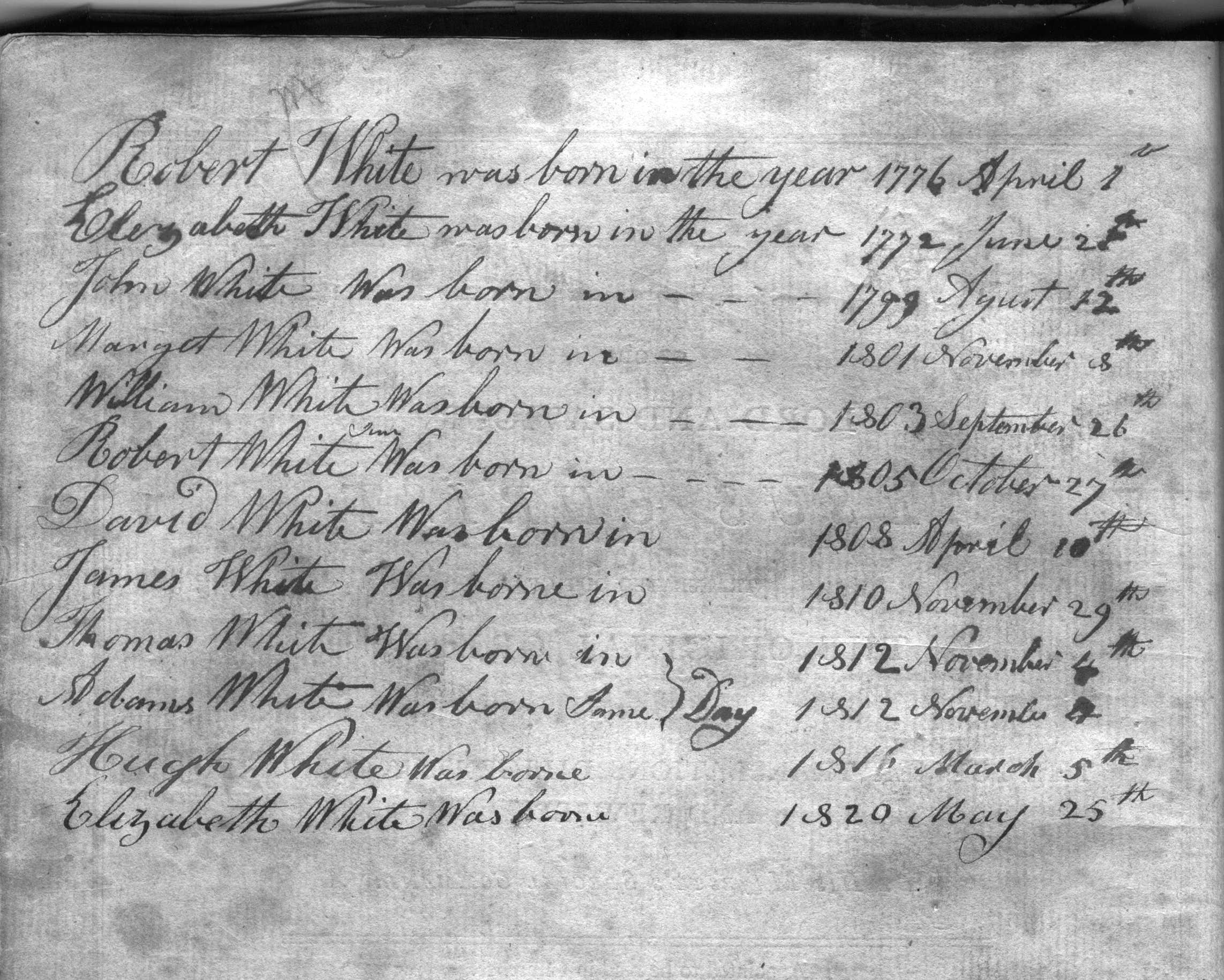 handwritten family Bible page